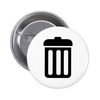 Trash bin symbol pinback button