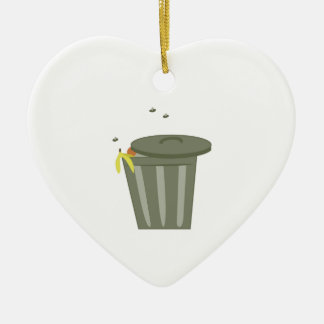 Trash Can Double-Sided Heart Ceramic Christmas Ornament