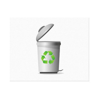 trash can lid open recycle symbol.png canvas print