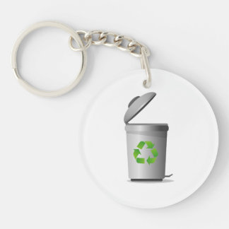 trash can lid open recycle symbol.png Double-Sided round acrylic keychain