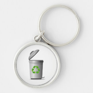 trash can lid open recycle symbol.png Silver-Colored round keychain