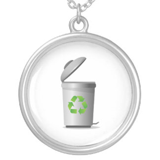trash can lid open recycle symbol.png silver plated necklace