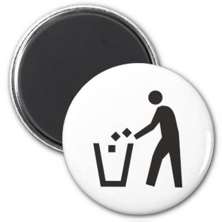 Trash Can Sign 2 Inch Round Magnet