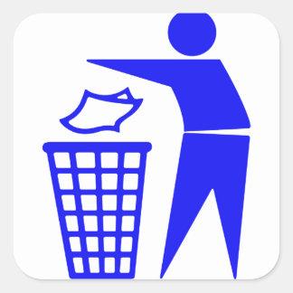 Trash Can Sign Square Sticker