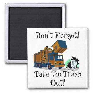 Trash Day Reminder 2 Inch Square Magnet