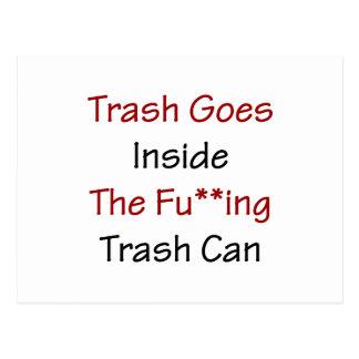 Trash Goes Inside The Fuing Trash Can Postcard