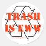 Trash is Eww Round Stickers