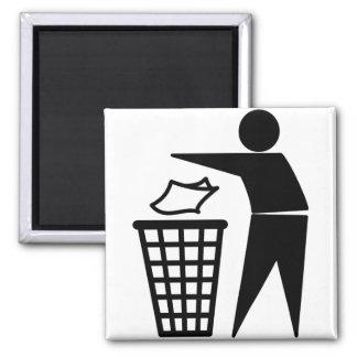 Trash Man Dumping Paper Trash 2 Inch Square Magnet
