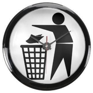 Trash Man Dumping Paper Trash Aquavista Clocks