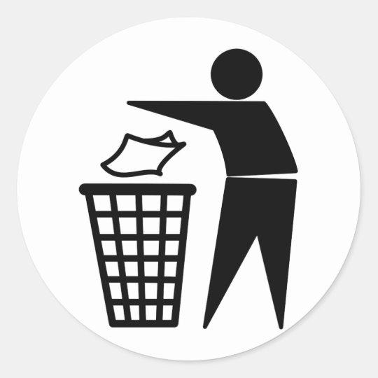 Trash Man Dumping Paper Trash Classic Round Sticker