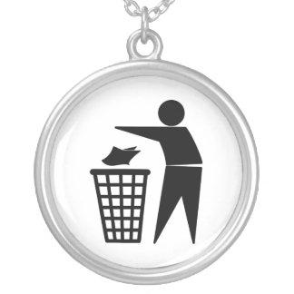 Trash Man Dumping Paper Trash Necklace