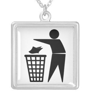 Trash Man Dumping Paper Trash Personalized Necklace