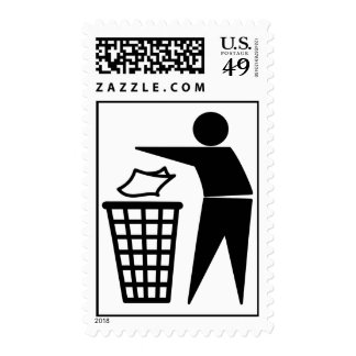 Trash Man Dumping Paper Trash Postage