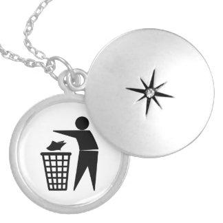 Trash Man Dumping Paper Trash Round Locket Necklace