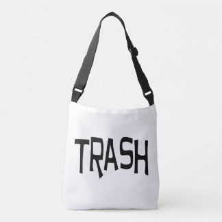 Trash print black crossbody bag