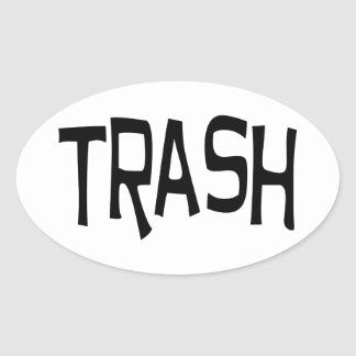 Trash print black oval sticker