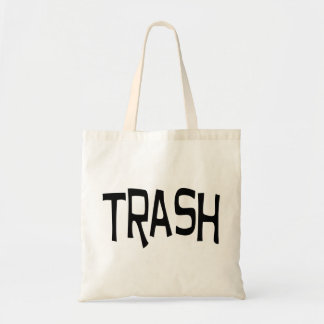 Trash print black tote bag