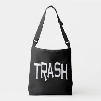 Trash print white crossbody bag