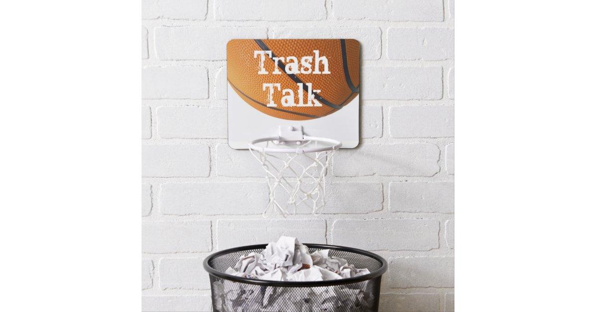 Trash talk mini basketball hoop zazzle - Basketball hoop garbage can ...
