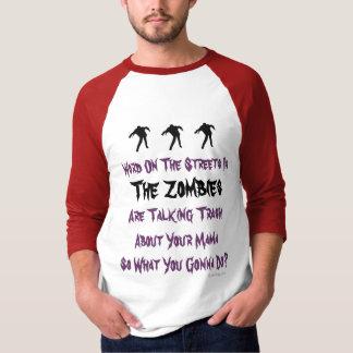Trash Talking Zombies Halloween  Baseball Jersey Tees