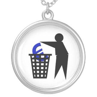 Trash the Euro Round Pendant Necklace
