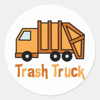 Trash Truck Round Sticker