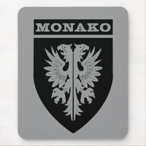 Trasp del negro del escudo de Monako Tapetes De Raton