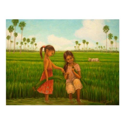 """Trasplante del arroz"" por Kyoko Yamaji Postales"