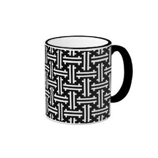 Traste chino del art déco, blanco y negro taza de dos colores