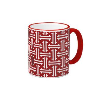 Traste chino del art déco, rojo oscuro y blanco taza de dos colores