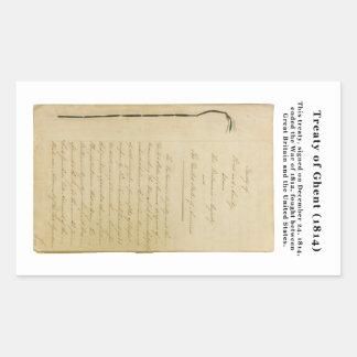 Tratado ORIGINAL del Stat de Gante 8. 218 1814 Rectangular Pegatinas