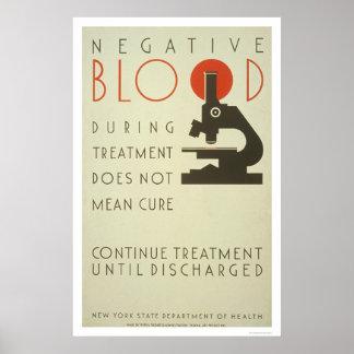Tratamiento negativo de la sangre WPA 1939 Posters