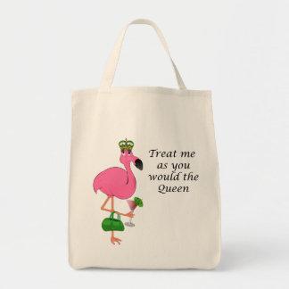 Tráteme como usted el flamenco de la reina bolsa tela para la compra