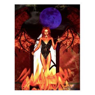 Trato gótico de los chicas con el diablo postal