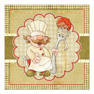 Trattoria Chef Pasta Party Personalized Announcements