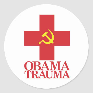 Trauma de Obama Pegatina Redonda