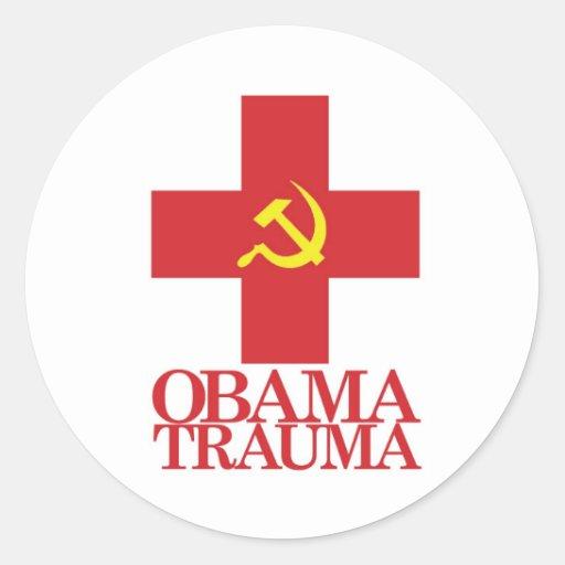 Trauma de Obama Pegatinas Redondas