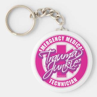 Trauma Junkie Pink Keychain