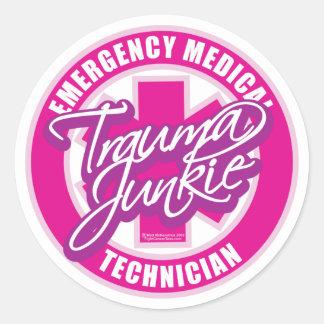 Trauma Junkie Pink Round Stickers
