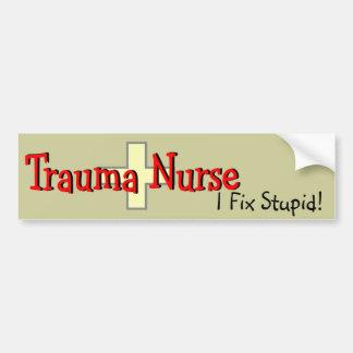 """Trauma Nurse Bumper Sticker """"I Fix Stupid"""" Car Bumper Sticker"""