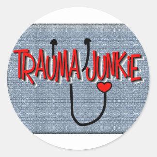 "Trauma Nurse ""Trauma Junkie"" Gifts Sticker"