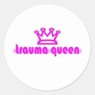 Trauma Queen Round Stickers