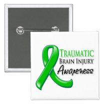 Traumatic Brain Injury Awareness Ribbon 2 Inch Square Button