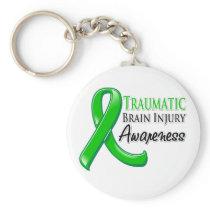 Traumatic Brain Injury Awareness Ribbon Basic Round Button Keychain