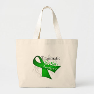 Traumatic Brain Injury Awareness Ribbon Jumbo Tote Bag