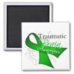 Traumatic Brain Injury Awareness Ribbon 2 Inch Square Magnet