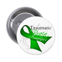 Traumatic Brain Injury Awareness Ribbon Pinback Button