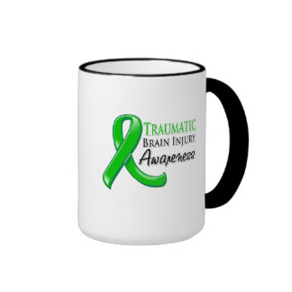 Traumatic Brain Injury Awareness Ribbon Ringer Mug