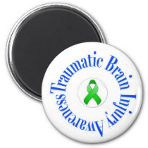 Traumatic Brain Injury Awareness Round Magnet Whit