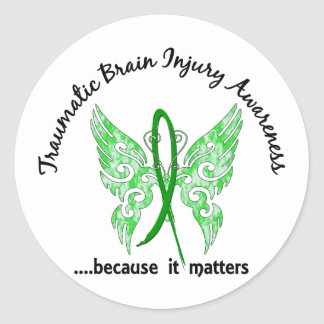 Traumatic Brain Injury Butterfly 6.1 Round Sticker